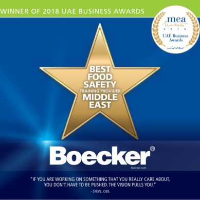 Boecker selected as 'The Best Food Safety Training Provider – Middle East' for the UAE Business Awards by MEA Markets