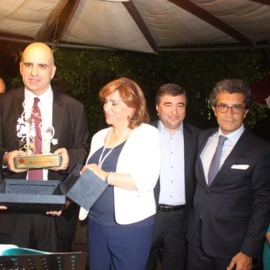 Ksara's Zafer Chaoui honors Louis Lahoud, DG of the Lebanese Ministry of Agriculture for his efforts to promote local wines