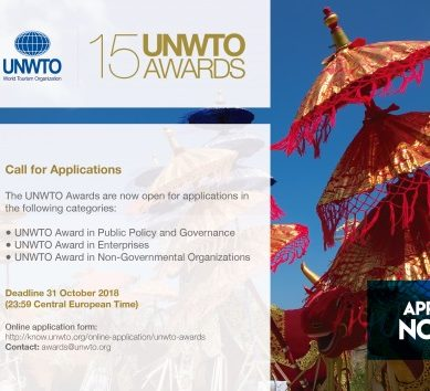 Applications open for the 15th UNWTO Awards which recognize tourism innovation and sustainability