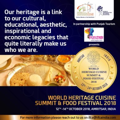 Stay tuned for the World Heritage Cuisine Summit & Food Festival 2018 on October 12