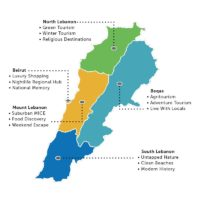 Tourism assets in Lebanon per region