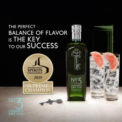 No.3 London Dry Gin hailed ISC's Supreme Champion Spirit