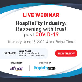Live Webinar: Hospitality industry post COVID-19 era, reopening with trust